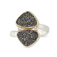 Black Druzy Triangles and Diamonds Ring