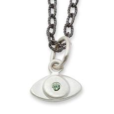 Silver Itty Bitty Evil Eye Charm + Silver or Black Chain