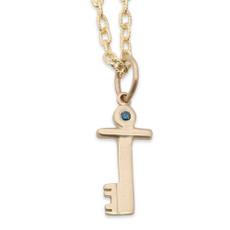 14kt Gold Key Charm + 14kt Gold Chain