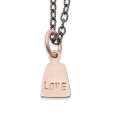 14kt Gold Angular Tag Charm Personalized + Silver or Black Chain