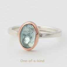 Aquamarine Ring with 14kt Pink Gold and Sterling Silver