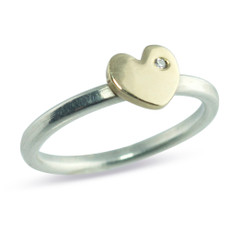 Stackable Heart Ring Silver Band With 14kt Yellow Gold Heart with a diamond