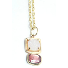 Druzy and Pink tourmaline 14kt Gold GemDrop Necklace