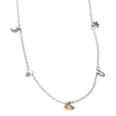 NEW! Dangle Charms Necklace with 5 itty bitty fixed charms silver and 14kt gold