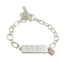 Bar Bracelet stamped with 4 Letters add ons: 3 flush-set diamond dangling 14kt Pink Gold Heart with a diamond