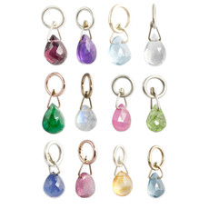 Briolette Birthstone Charms Silver or Gold