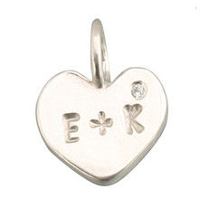 Medium Flat Heart Charm Silver or Gold Personalized