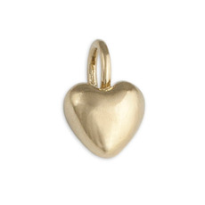 Tiny Puffy Heart Silver or Gold Personalized