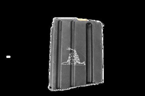ASC AR15 10-Round Magazine 5.56/223/300BLK Enhanced Stainless Steel- Gadsden Engraved