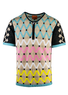Pattern Zipper T-Shirt
