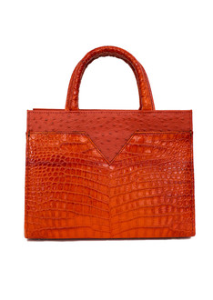 Orange semi structure tote bag