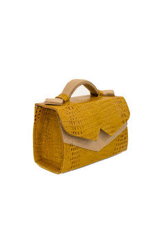 Croc-effect yellow TKO mini shoulder bag