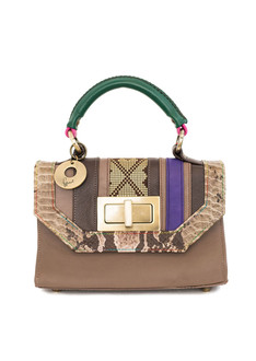 Croc-effect brown tara mini tote
