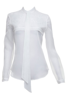 Organza see-through bow blouse