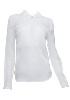 Organza see-through bead collar blouse