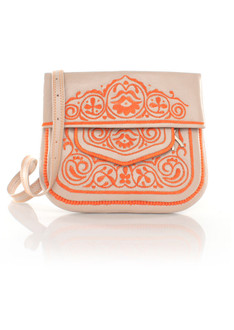 Beige and peach leather berber bag