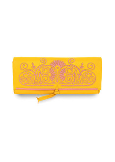 Yellow and pink embroidered leather clutch