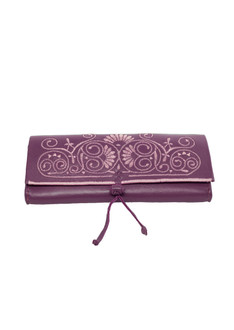 Purple and lilac embroidered leather clutch