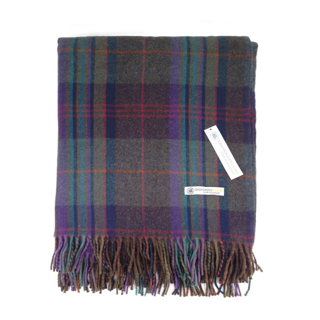 Superfine Lambswool Deveron Gray Tartan Blanket