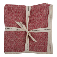 HERRINGBONE NAPKINS, RED, SET OF 4