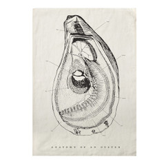 Oyster Anatomy Pure Linen Tea Towel