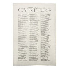 North American Oysters Pure Linen Tea Towel