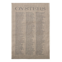 North American Oysters Pure Linen Tea Towel, Natural