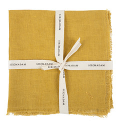 SOLID LINEN NAPKINS, CURRY, SET OF 4
