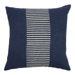 Center Stripes Block Print PURE LINEN Pillow, Indigo