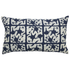 FLORAL BLOCK PRINT PURE LINEN PILLOW, Indigo