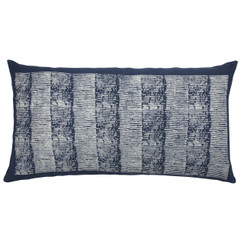 Grain Stripe Block Print PURE LINEN Pillow, Indigo
