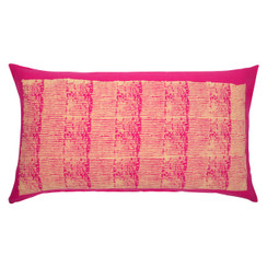 Grain Stripe Block Print PURE LINEN Pillow, Magenta