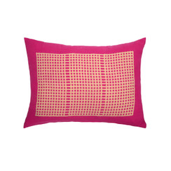 Wide Weave Block Print PURE LINEN Pillow, Magenta