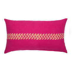 chevron Stripe Block Print PURE LINEN Pillow, Magenta