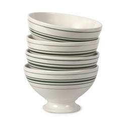 VINTAGE STRIPE AU LAIT BOWLS, HAMPSTEAD GREEN, SET OF 4