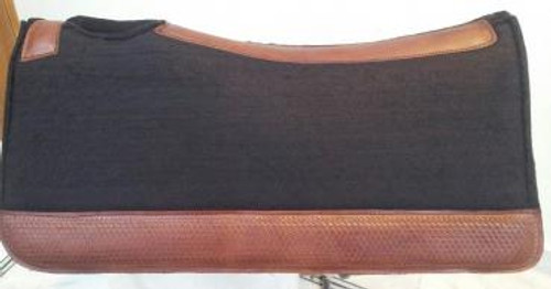 Western Felt Saddle Pad With Hand-Tooled Leather