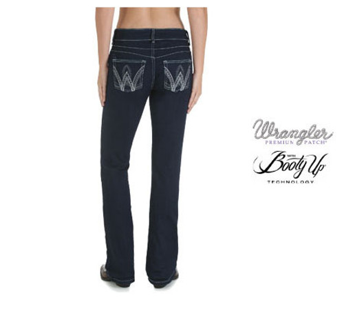 Wrangler Womens Premium Patch 'Booty Up' Jeans  (Sits Above Hip)