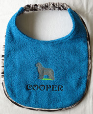 turquoise terry dog drool bib