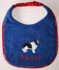 royal blue terry dog drool bib