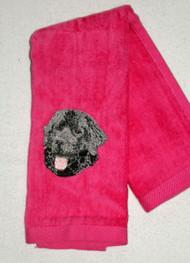 Black Newf on Pink Hemmed Drool Towel