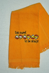 Halloween Design on Gold Fringed Drool Towel
