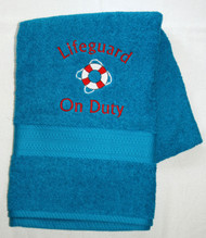 turquoise terry embroidered bath towel