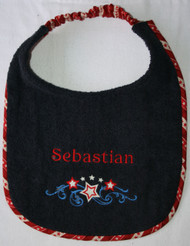 navy blue terry dog drool bib