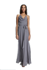 Nouvelle Amsale ALYSSA Cowl halter neck bridesmaid dress with circle skirt shown in Granite. Style N343
