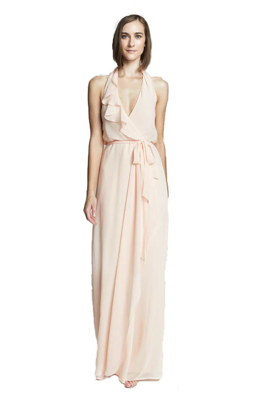 Nouvelle amsale bridesmaids n320 bridals by lori nouvelle amsale erica criss cross ruffle halter chiffon bridesmaid dress shown in nude style ombrellifo Images