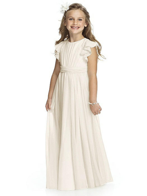 Jewel neckline lux shimmer dress with flutter sleeve, shirred bodice and attached rouched sash. Bow detail at back. Sizes available: 2-14 and 2-14 Extra Length.