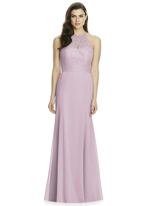 Full length marquis lace and matte chiffon dress. Modified halter neckline. Trumpet skirt.