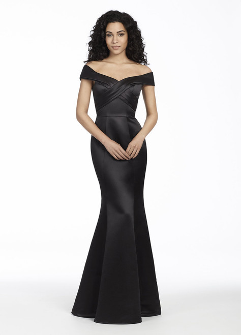 Black Satin trumpet bridesmaid gown, off the shoulder crossover draped bodice, natural waist.