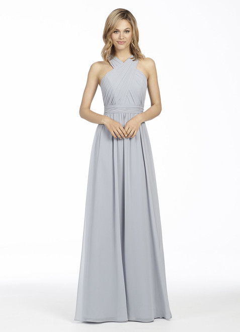 Platinum chiffon A-line bridesmaid gown, gathered crossover bodice, gathered waistband, keyhole accent at back, natural waist, gathered skirt.