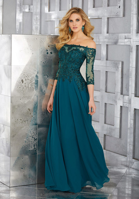 Chiffon Social Occasion Gown with Crystal Beaded and Embroidered Off-the-Shoulder Bodice